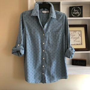 Kim Rogers blue long sleeve blouse size S